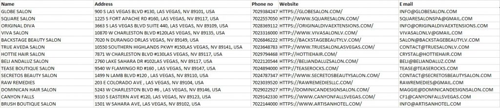 phone numbers and email addresses list of salons in las vegas united states.
