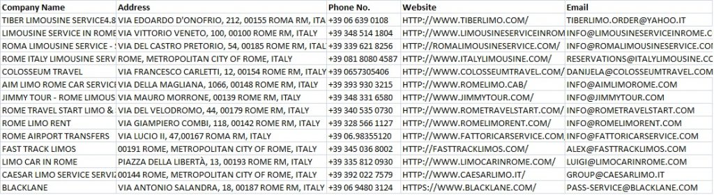 email list of best 60 limousine service in rome Italy, best limo service in rome italy